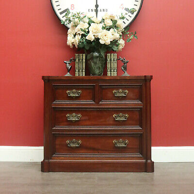 Vintage Mahogany Chest of Drawers, Brass Handles, Hall Cabinet Large Bedsides