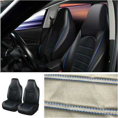 Front High Back Bucket Car Seat Covers Set - Black+Blue Synthetic Leather 2pcs