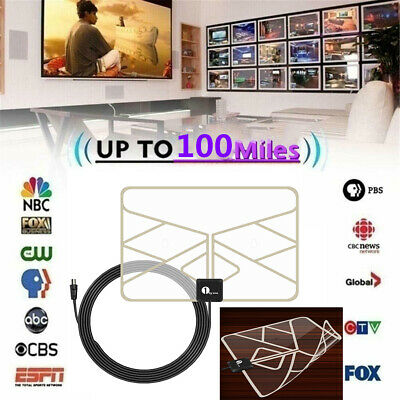 1byone TV Antenna 100miles Indoor Thin TV Aerial Amplifier Digital HD FM HDTV UK
