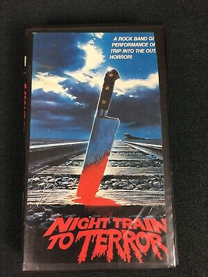 Night Train To Terror 1985  VHS Rated R Cult Horror Ex Rental Cropped Sleeve