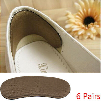 6 Pairs Sticky Fabric Suede Heel shoe heel pads Inserts Insoles Pads Protectors