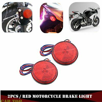 2X Car Motorcycle Red Round 24 LED Brake Turn Signal Stop Tail Lights reflectors