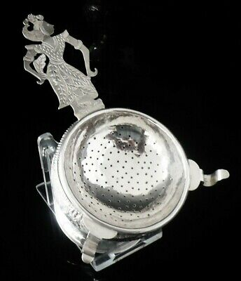 Eastern Silver Tea Strainer Complete with Drip Bowl, 20th Century