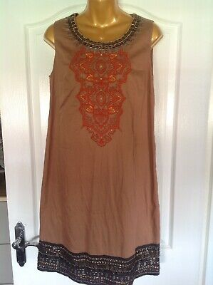 Monsoon Brown Sequinned Tunic/Smock Cotton Dress Size UK10 EUR38