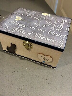 Pet Ashes Wooden Dog Cat Memorial Personalised Keepsake Box Handcrafted Gift