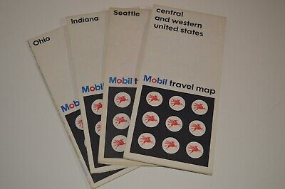 4  Vintage Mobil  Road Maps in Very Good Condition 1968-74
