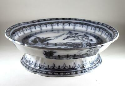 Large Antique 19Th Century Black Transfer Print Pearl China Serving Stand Dish