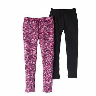 Lot Of 2 FADED GLORY Girl's Hacci Solid & Printed Leggings PINK/BLACK Small 4/6