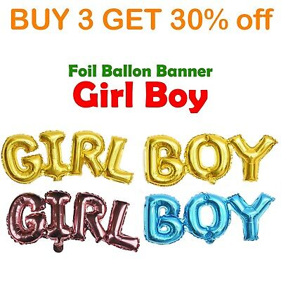 Baby Shower Banner Girl Boy Hanging Bunting Party Decoration Foil Balloon Wall