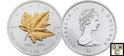 2008 Special 1oz Silver Maple Leaf -20th Anniversary .9999 Fine Coin(12430)OOAK