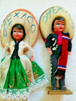 Vintage pair of souvenir dolls from Mexico 1950s Celluloid, fabric sombreros