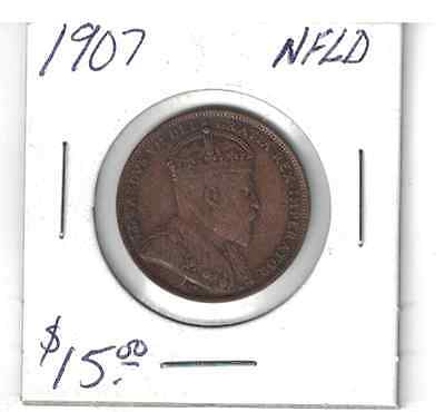 Canada 1907 NFLD 1 cent coin large penny