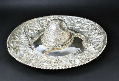 Beautiful Taxco Mexican Sterling Silver Detailed Large Floral Sombrero