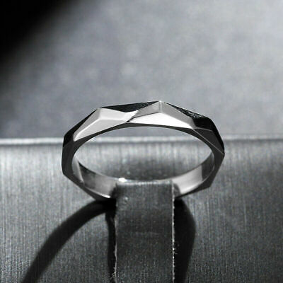 3mm Silver Irregular Band Women 316L Stainless Steel Smooth Stylish Ring Sz6-10