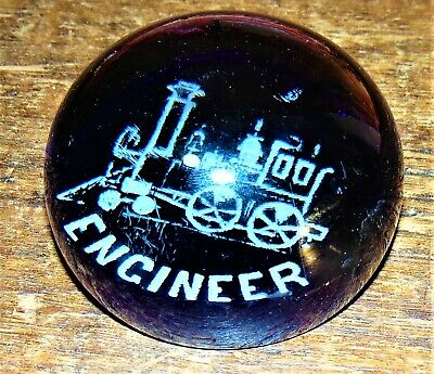 ANTIQUE ENGINEER Train Locomotive Railroad occupation Blue Glass paperweight