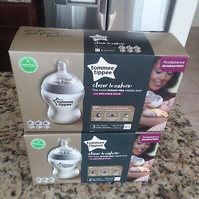 X6) TOMMEE TIPPEE  Anti-Colic Valve 9oz Slow Flow Baby Bottle BPA FREE