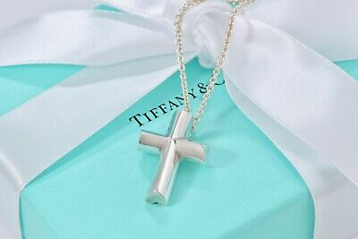 """Tiffany & Co. Paloma Picasso Silver LARGE Tenderness Heart Cross 16.5"""" Necklace"""