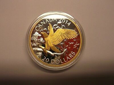 Canada 2014 Proof Twenty Dollar Fine Silver Coin Perched Bald Eagle Gold Plated.