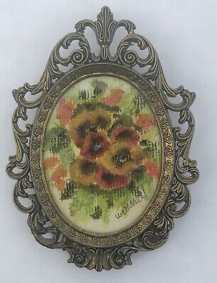 Vintage Gold Ornate Frame Italy Small Original Watercolor Painting Floral Signed