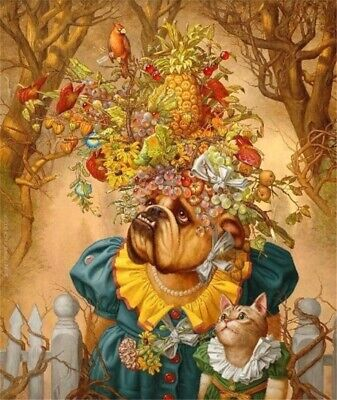 """Head of fruit,Pug and cat Hand-painted oil painting wall art home decor 24x32"""""""