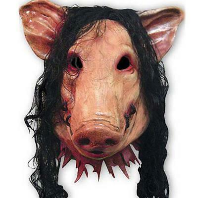 Scary Saw Pig Latex Mask Full Head Horror Animal Cosplay Prop Halloween Party