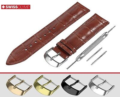 Fits EMPORIO ARMANI Glossy Brown Genuine Leather Watch Strap Band For Buckle Pin