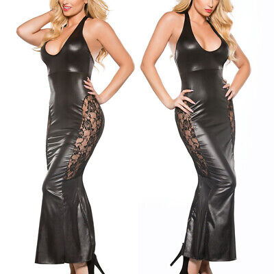 Womens Bodycon Sexy Backless Lingerie Dress PU Leather Night Wet Look Long Dress