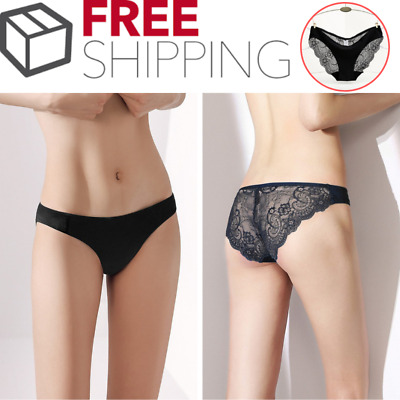 Womens Lace Seamless Sexy Soft Panties Brief Lingerie Underwear Black 2-4-6 Pack