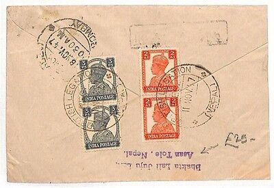 BF77 NEPAL 1947 India Used Abroad *Asan Tole* Cover Bombay {samwells-covers}
