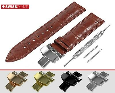 Fits EMPORIO ARMANI Glossy Brown Genuine Leather Watch Strap Band For Clasp Pins
