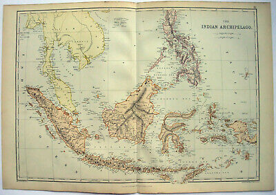 Indian Archipelago - Original 1882 Map by Blackie & Son. Philippines Indonesia