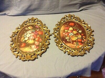 Frame Brass Ornate Convex Glass Made In Italy Vintage 2 Oval Floral Picture