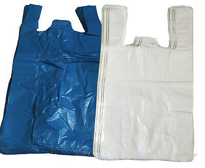Plastic Vest Carrier Bags Blue Or White Supermarkets Stalls Shops 2 Sizes