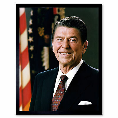 Official Portrait US President Ronald Reagan Photo Wall Art Print Framed 12x16