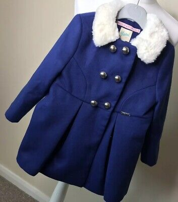 Yumi Girls Navy Blue Coat White Fur Collar BNWT 3-4 Chistmas Winter Blogger