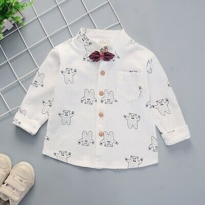 Cute Baby Boys Long Sleeve Cartoon Dog Print T-Shirts Tops Tees Shirts Blouse