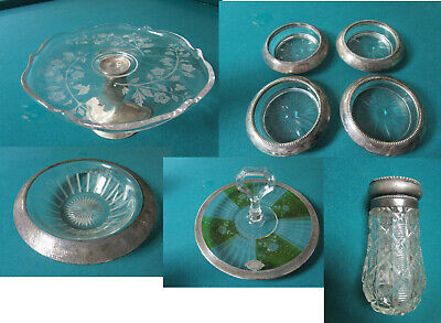 Antique Sterling  Etched Glass Footed Dish Coasters Bowl Cake Plate Shaker Pick