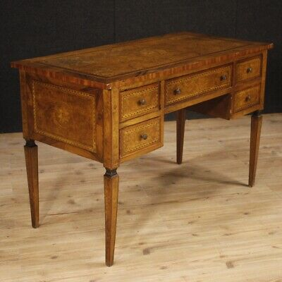 Desk Mobile Table Secretary Desk Italian Inlaid Antique Style Louis XVI