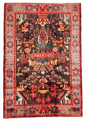 "Hand-knotted Oriental Carpet 4'10"" x 7'1"" Traditional Vintage Wool Rug"