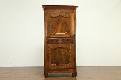 French Antique 1750 Country or Provincial Fruitwood Armoire Bonnetier #31574