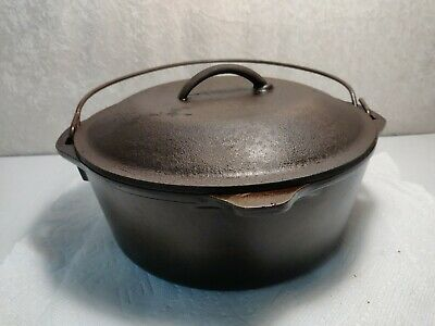 Vintage Lodge Cast Iron No 8 DO Dutch Oven Pot W/ Self Basting Lid 10 1/4""
