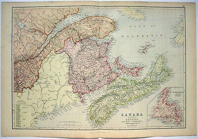 Original 1882 Map of Eastern Canada by Blackie & Son. PQ NB NS NL PEI. Antique.