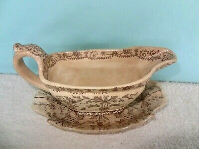 Vintage T & R boote lahore ENGLAND  Gravy Boat & Saucer 1880's