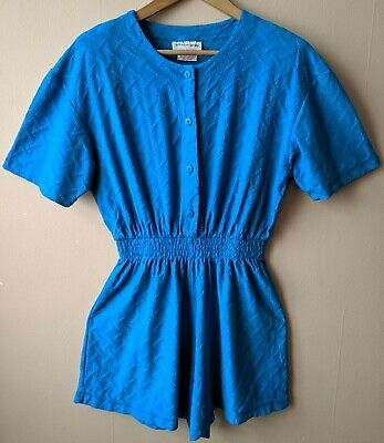 90s Vintage Teal Blue Playsuit Romper 16 Summer Festival Casual