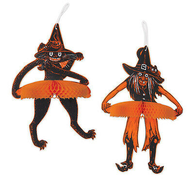 HALLOWEEN Decoration Jointed Tango Witch & Cat Vintage Beistle 1929 Reproduction