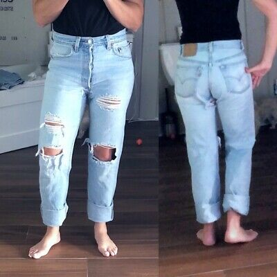 Vintage HIGH WAISTED LEVIS 501 Straight Faded Blue Denim Ripped MoM JEANS 28 29""