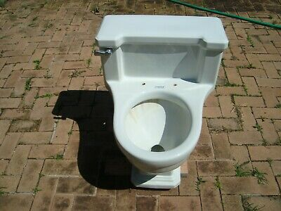 Vintage Early American 'Standard One Piece' White Toilet, 1937 Mid Century