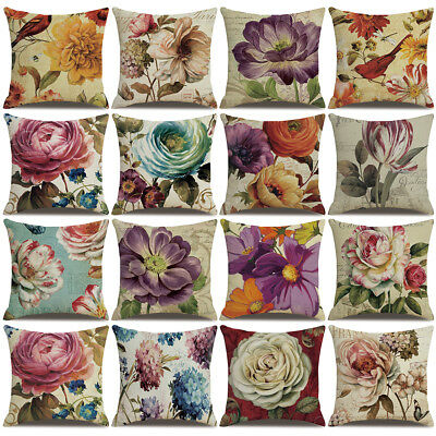 18'' Linen Peony Flower Throw Pillow Case Cushion Cover Sofa Home Decor Strict
