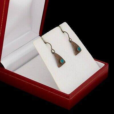 Antique Vintage Mid Century Modernist Sterling Silver Turquoise Dangle Earrings