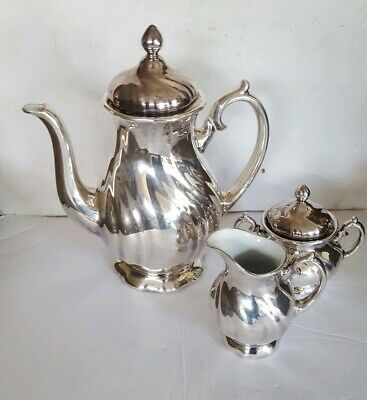 Vintage WMF Porcelain Coffee Set With Sterling Silver Overlay 3 Piece Set